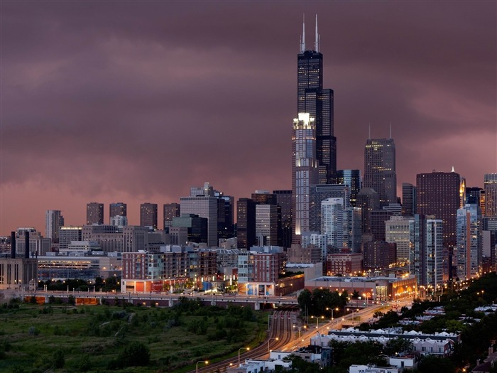 chicago evening buildings-World Travel HD photography Wallpaper Views:3771