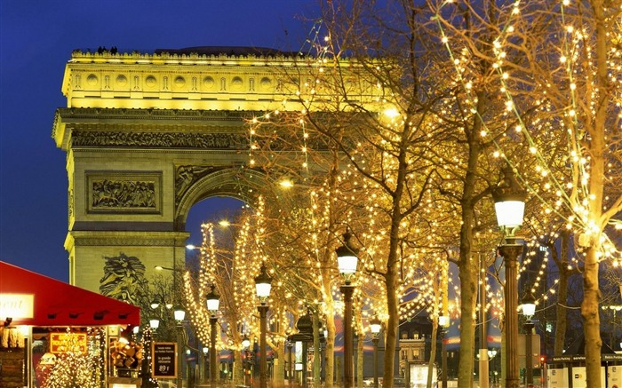 christmas trees decorations-Cities landscape widescreen wallpaper Views:4539