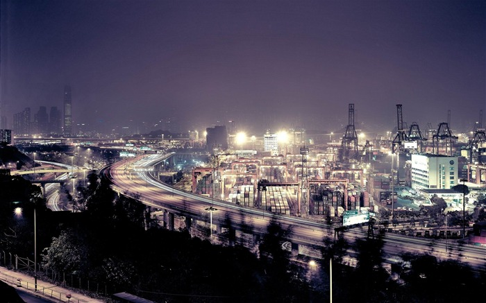 hong kong night view-Cities landscape widescreen wallpaper Views:6752