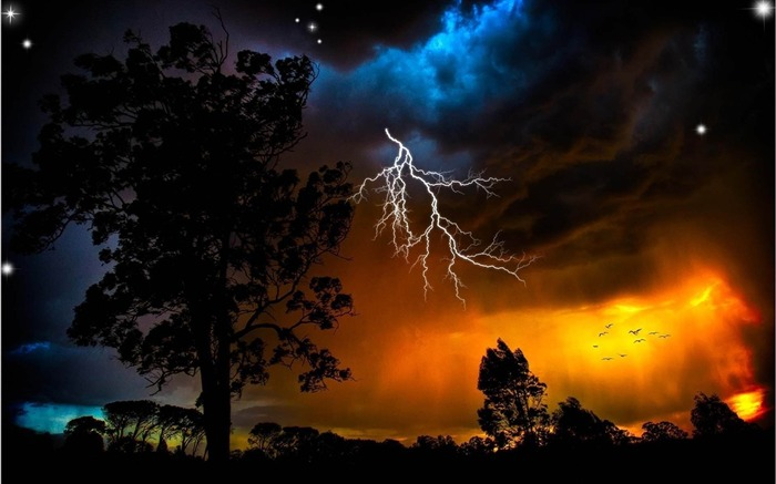 lightning sky trees weather-Natural landscape HD wallpaper Views:9542