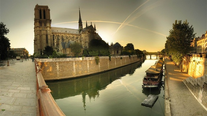 paris notre dame cathedral river-World Travel HD photography Wallpaper Views:3537