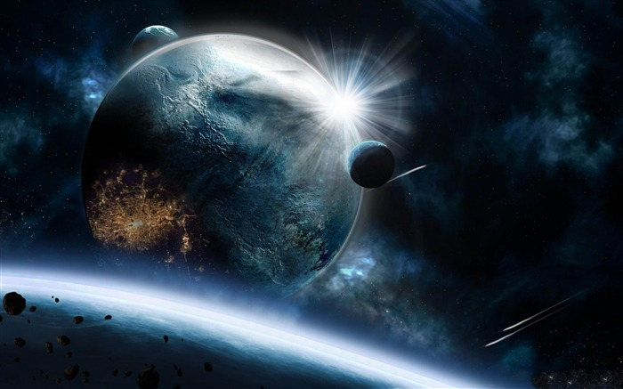 planets asteroids speed impact explosion-space HD Widescreen Wallpaper Views:5166