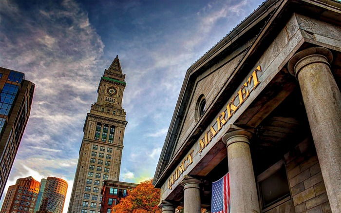 quincy market boston building skystone-Cities landscape widescreen wallpaper Views:3394