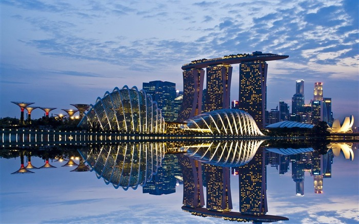 singapore reflection sky-Cities landscape widescreen wallpaper Views:2545