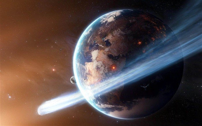 space planet ring explosions satellites-space HD Widescreen Wallpapers Views:2979
