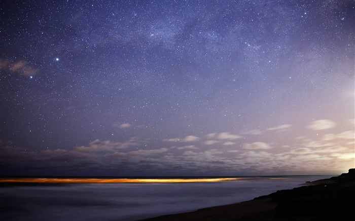 stars sky night sea horizon-Natural landscape HD wallpaper Views:15751