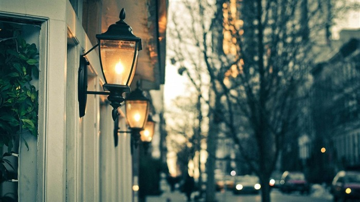 street lights night trees-Cities landscape widescreen wallpaper Views:2227