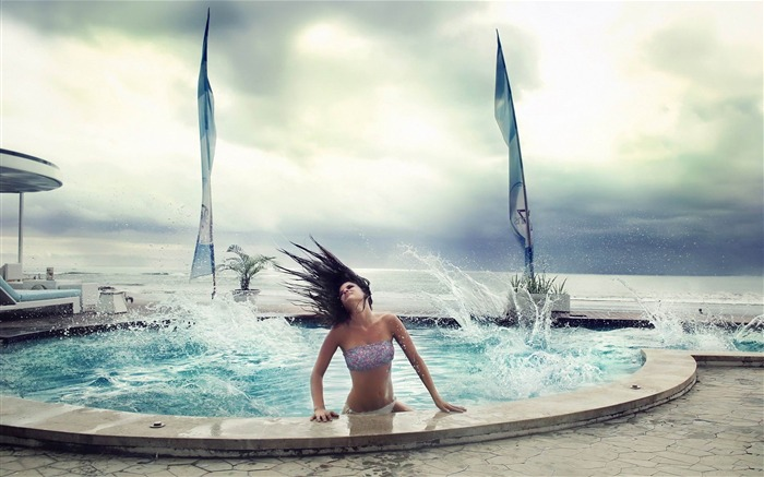 pool waves-creative design HD wallpaper Views:3626