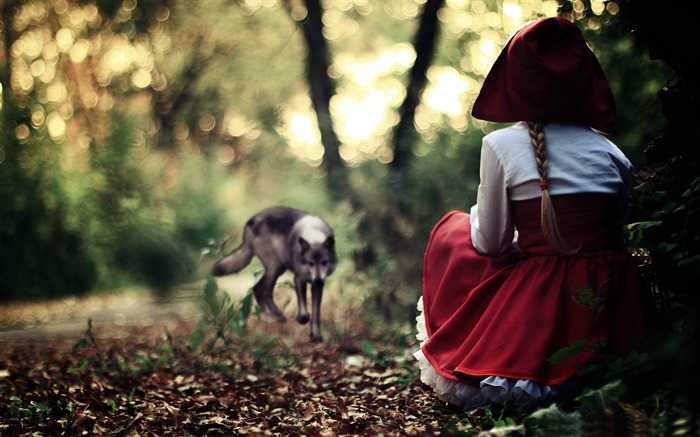 red riding hood and wolf-creative design HD wallpaper Views:5586
