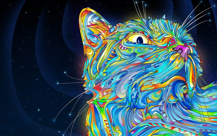 abstraction vector cat colorful paint-Abstract design wallpaper Views:3447