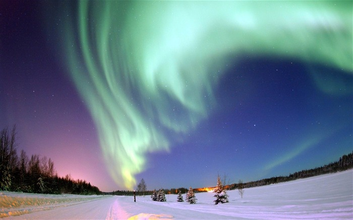 polar lights sky stars north pole winter-landscape widescreen wallpaper Views:13039