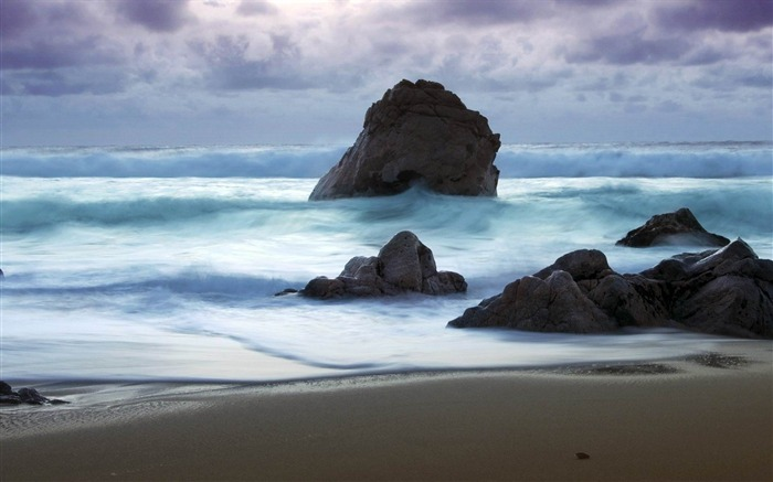 waves sea stones storm coast sand beach-landscape widescreen wallpaper Views:2750