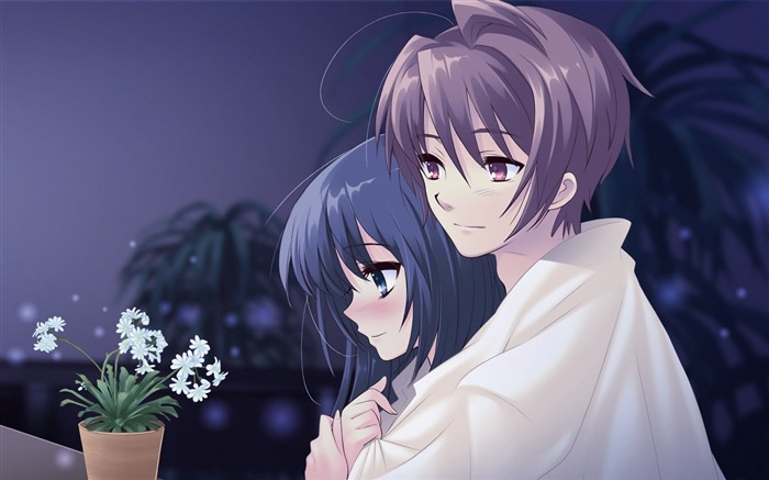 boy girl pot flower hug tenderness-2013 Anime HD Wallpaper Views:17500