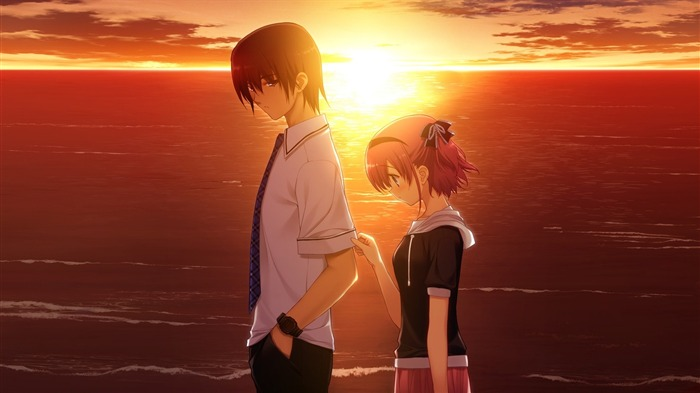 boy girl sad sunset sea-2013 Anime HD Wallpaper Views:10413