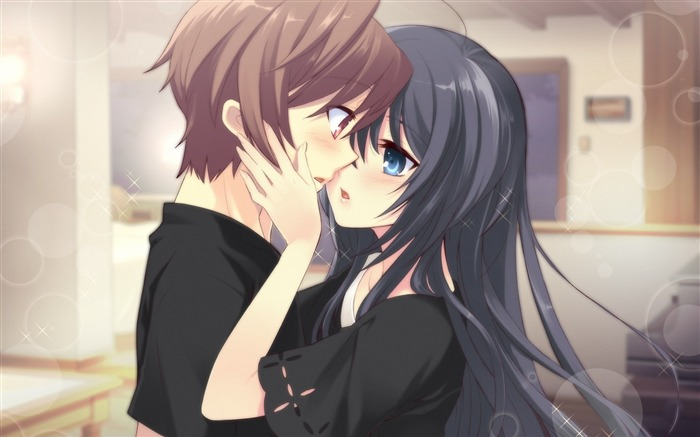 boy girl tenderness kiss room-2013 Anime HD Wallpaper Views:9461