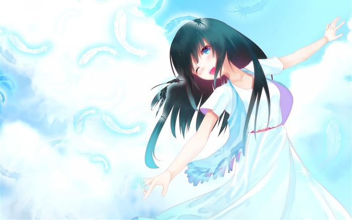 feathers girl art sky clouds-2013 Anime HD Wallpaper Views:3992