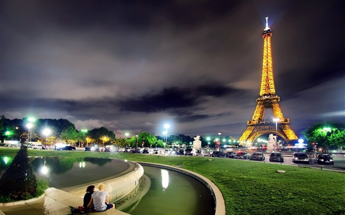 france paris eiffel tower night-city photography HD Wallpaper Views:9827