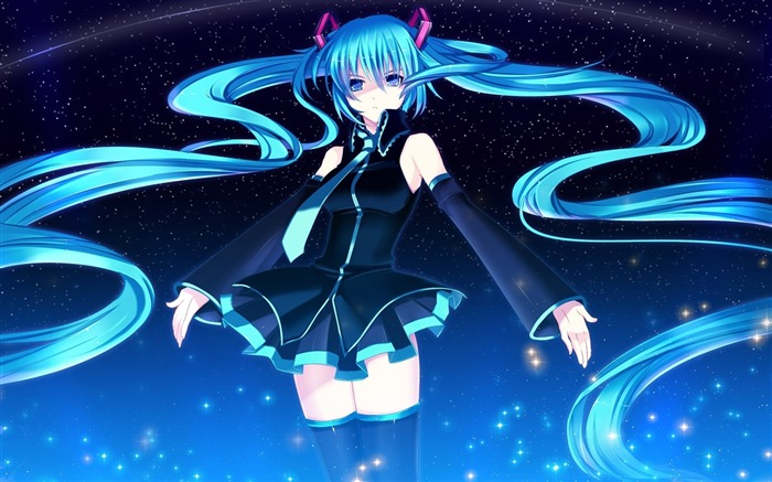 girl hatsune miku ear headphones smiling-2013 Anime HD Wallpaper Views:4770
