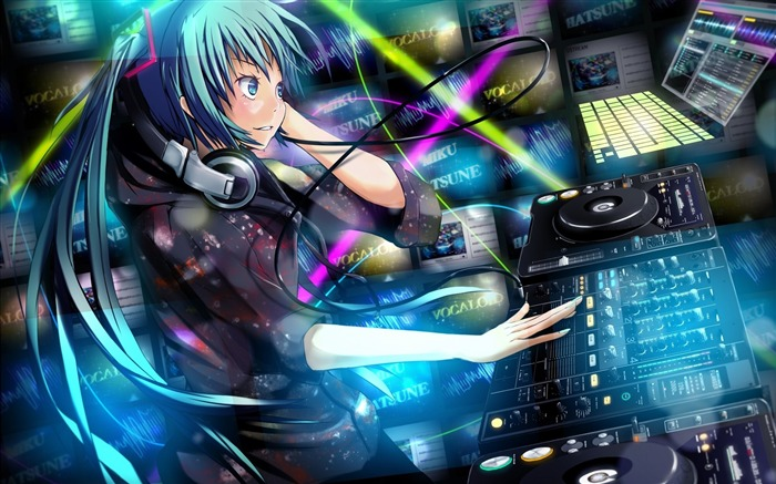 girl hatsune miku headphones-2013 Anime HD Wallpaper Views:13362