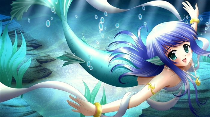 girl mermaid tail smile-2013 Anime HD Wallpaper Views:40016