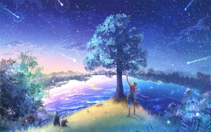 Second element of the Fireflies Summer Cartoon Desktop Wallpaper Views:12836