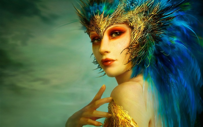 girl bird hair feathers hand person-Fantasy Design HD Wallpapers Views:4267