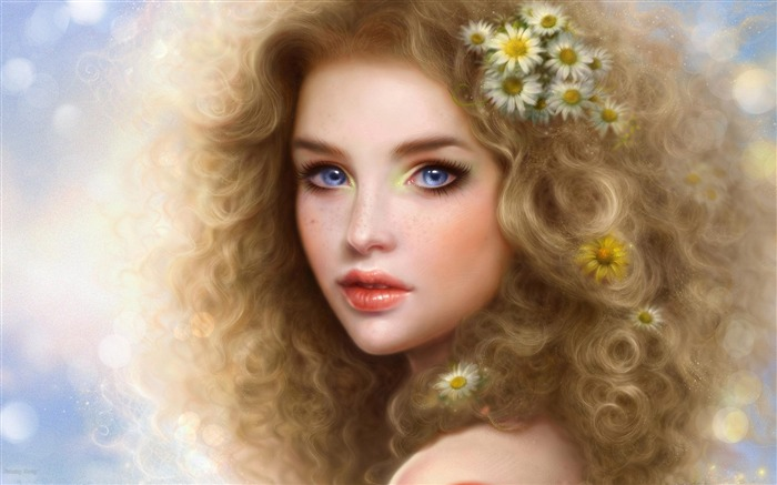 girl blonde blue eyes curly lips-Fantasy Design HD Wallpapers Views:8210