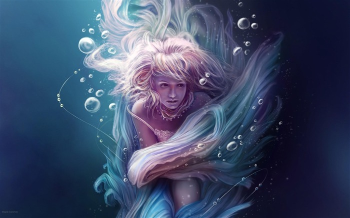 girl under water bubbles tapes-Fantasy Design HD Wallpapers Views:3738