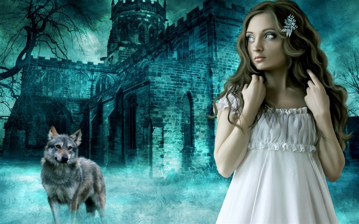 girl wolf castle night profile-Fantasy Design HD Wallpapers Views:4109
