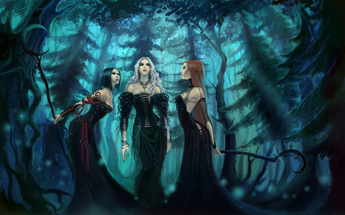 girls witches wood dresses-Fantasy Design HD Wallpapers Views:3150