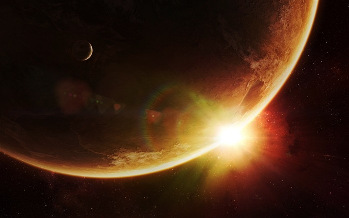 planet companion sunlight beams stars-Space HD Wallpaper Views:5704