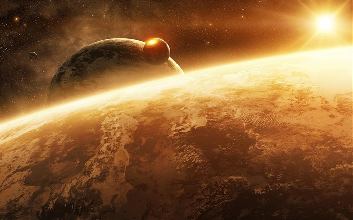 planet sun light stars-Space Discovery HD Wallpaper Views:4205