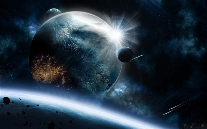 planets asteroids speed impact explosion-Space HD Wallpaper Views:6312
