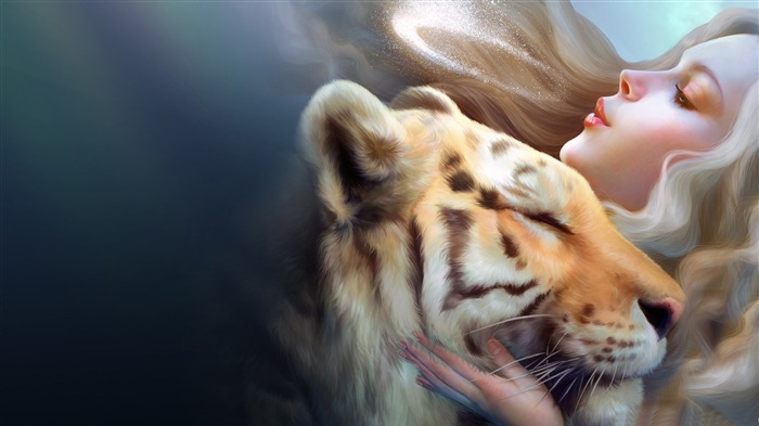 tiger and girl-Abstract design HD wallpaper Views:4413 Date:7/13/2013 12:39:51 PM