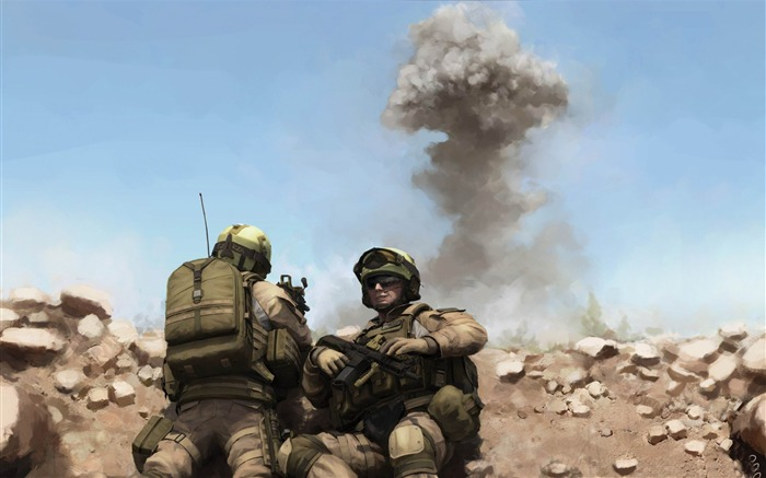 war soldiers painting-Military Widescreen Wallpaper Views:3627