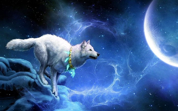 wolf arrivals moon breakage-Fantasy Design HD Wallpapers Views:28219