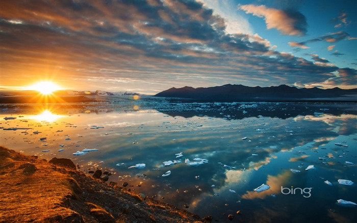 Rivers melting ice Sunrise-August 2013 Bing wallpaper Views:7555