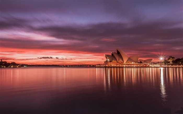 city australia sydney opera house sunset-Cities photo HD wallpaper Views:4364