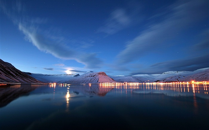 lake lights reflection-landscape HD Wallpaper Views:3970