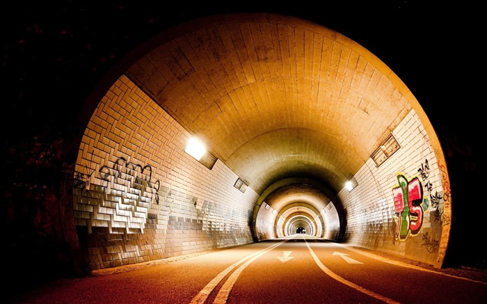 lighting road light graffiti tunnel-Cities photo HD wallpaper Views:3182