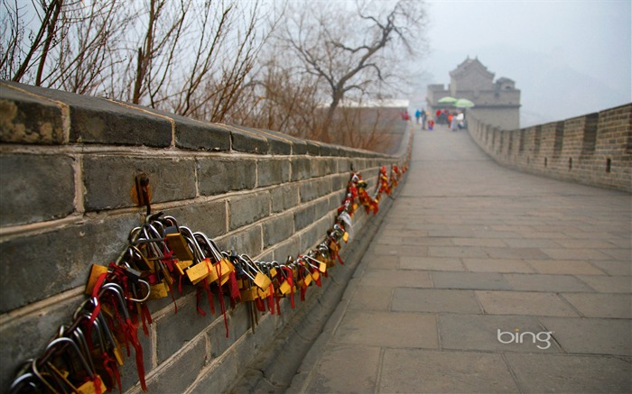 Great Wall with heart lock-September 2013 Bing wallpaper Views:3111