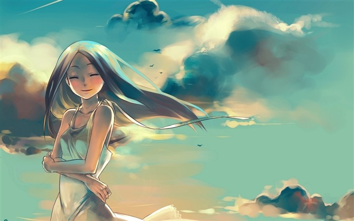 girl sky clouds-Anime HD Wallpaper Views:4454
