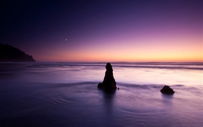 purple evening on the beach-ocean Landscape wallpaper Views:3909