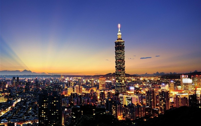 Taiwan skyscrapers city night-cities HD Wallpaper Views:7797