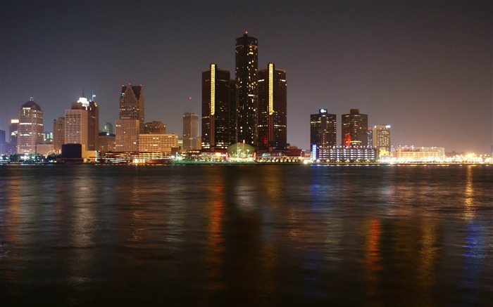 detroit skyscrapers night river-cities HD Wallpaper Views:3416