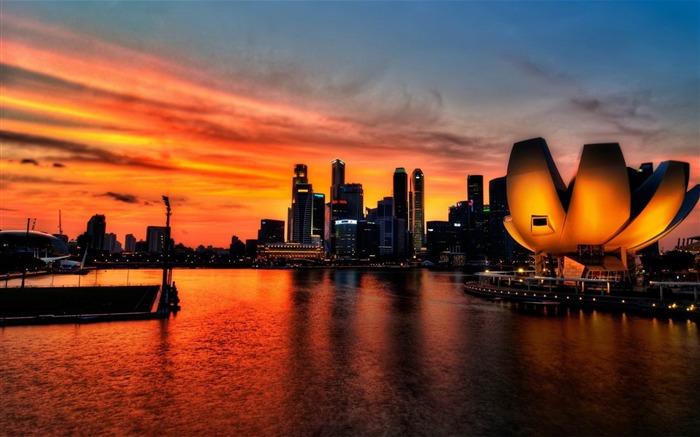 singapore sky sunset-cities HD Wallpaper Views:3585