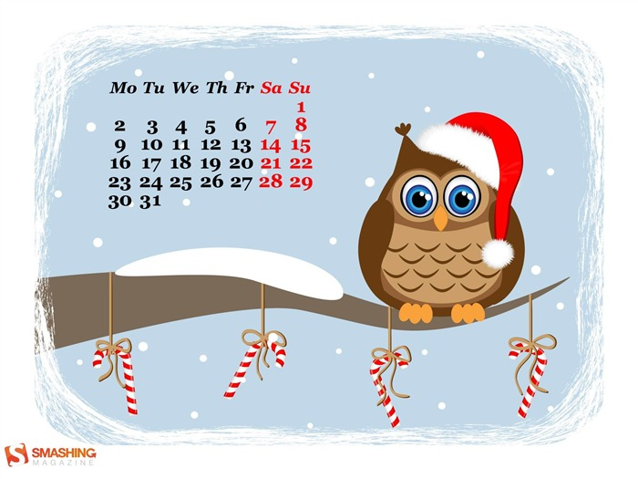 Funny Owl Waiting For Holidays-December 2013 Calendar Wallpaper Views:3962