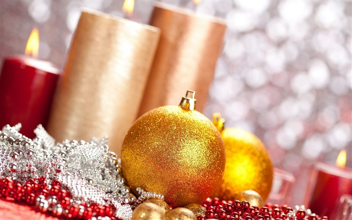 ball christmas candles new year-Festival theme wallpaper Views:3324