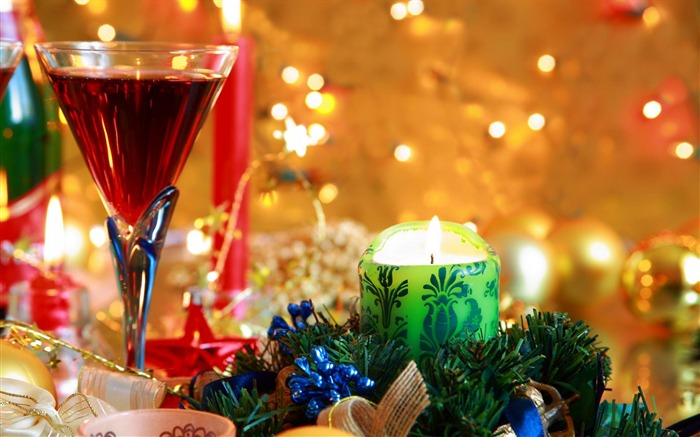 beverage wine glass candles-holiday theme wallpaper Views:3878