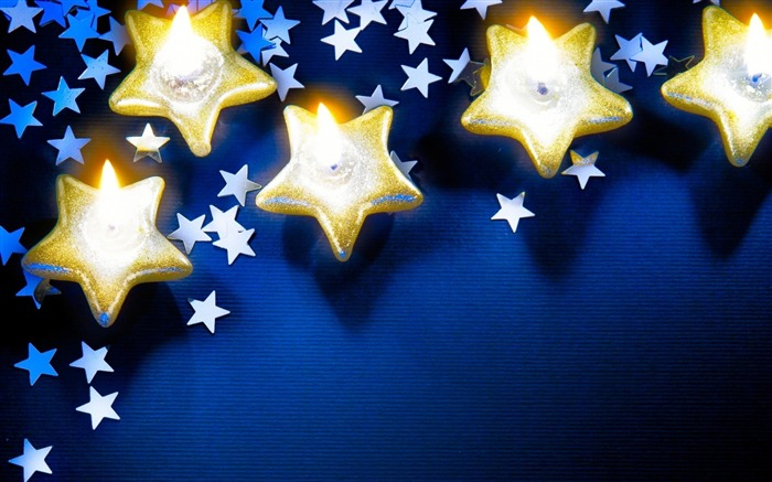 candles stars new year-holiday theme wallpaper Views:3250